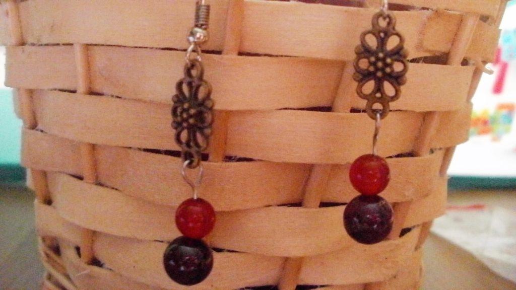 Náušnice z karneolu a červeného granátu